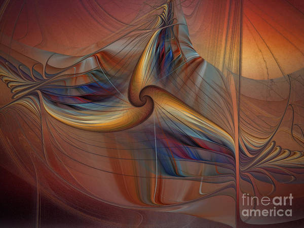 Fractal Landscape Digital Art - Old-fashionened Swing Boat In The Afterglow by Karin Kuhlmann