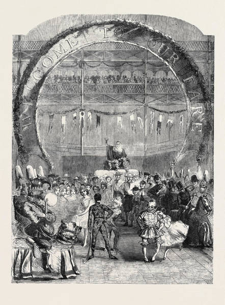 Old Style Drawing - Old Father Christmas Attended By A Motley Group by English School