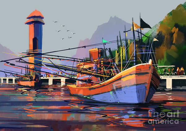 Scene Digital Art - Old Fishing Boat In The Harbor,digital by Tithi Luadthong