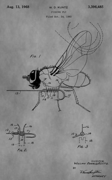 Fishing Pole Digital Art - Old Fishing Fly Patent by Dan Sproul