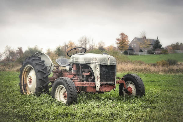 Photograph - Old Ford Tractor And Farm House by Gary Heller