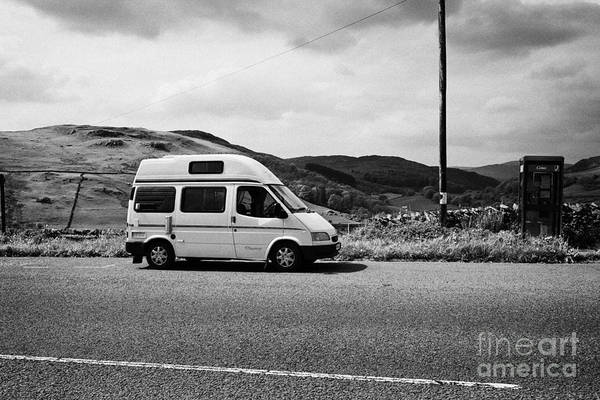 Ford Van Photograph - Old Ford Transit Campervan Parked In Layby On The A6 Longsleddale Valley Cumbria Uk by Joe Fox