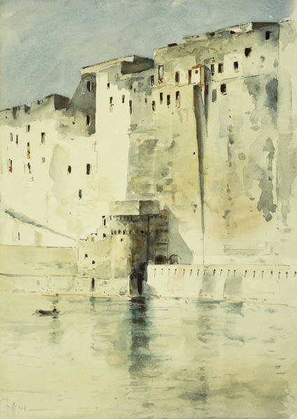 Sea Land Painting - Old Fortress Naples by Childe Hassam