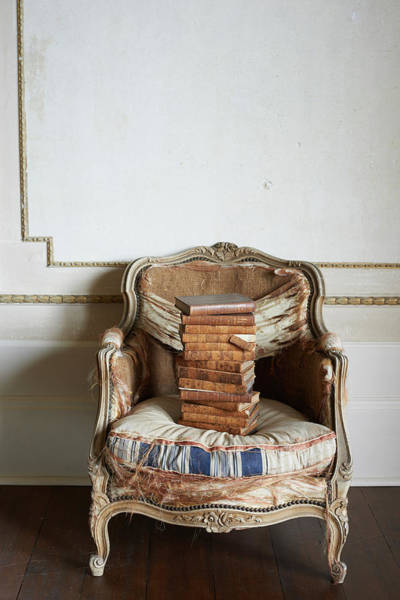 Armchair Photograph - Old French Chair With Antique Books by Paul Viant
