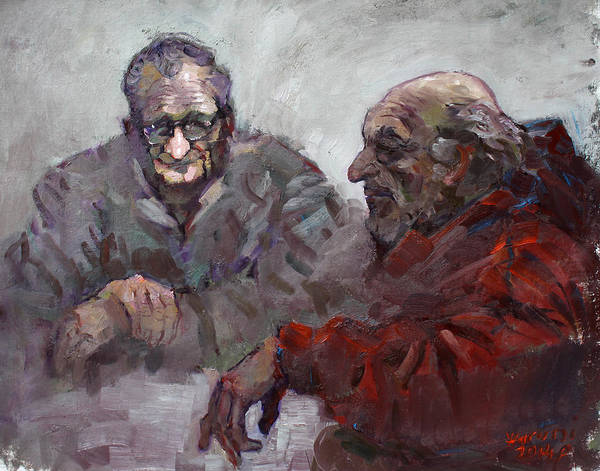Men Painting - Old Friends by Ylli Haruni