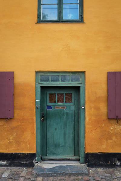 Mail Slot Photograph - Old Front Door In Copenhagen by Spiderstock
