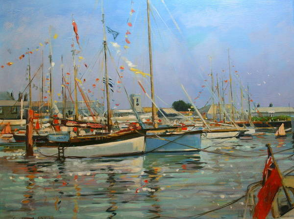 Bunting Painting - Old Gaffers  Yarmouth  Isle Of Wight by Jennifer Wright