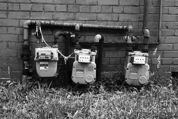 Photograph - Old Gas Meters by James Brunker