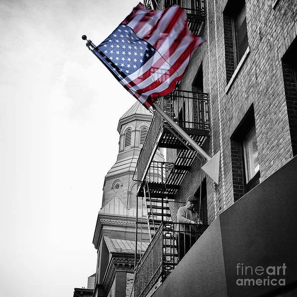 Old Glory Wall Art - Photograph - Old Glory Getting Raised by John Farnan