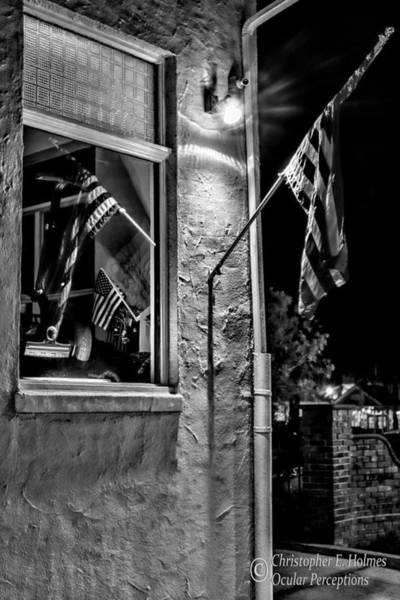 Photograph - Old Glory Reflected - Bw by Christopher Holmes