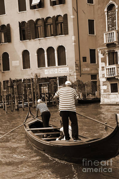 Lion Of St Mark Photograph - Old Gondola Ride by Brenda Kean