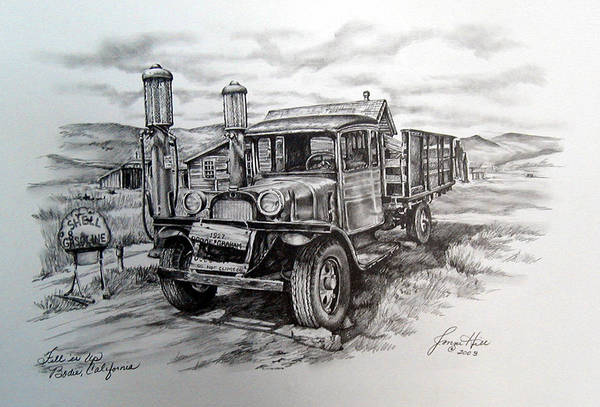 Pump Drawing - Old Graham  by Jonni Hill