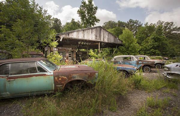 Beyond Repair Photograph - Old Grave Yard Cars by Linda D Lester