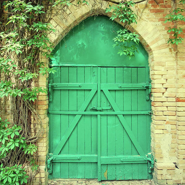 Brick Gothic Photograph - Old Green Wooden Gate by Innafelker