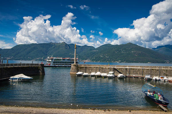 Photograph - Old Harbor In Luino Lago Maggiore Italy by Matthias Hauser