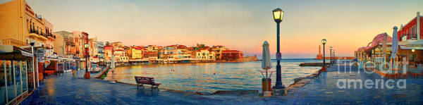Taverna Photograph - Old Harbour In Chania Crete Greece by David Smith