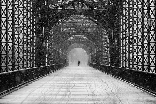 Street Photograph - Old Harburg Bridge In Snow by Alexander Sch?nberg