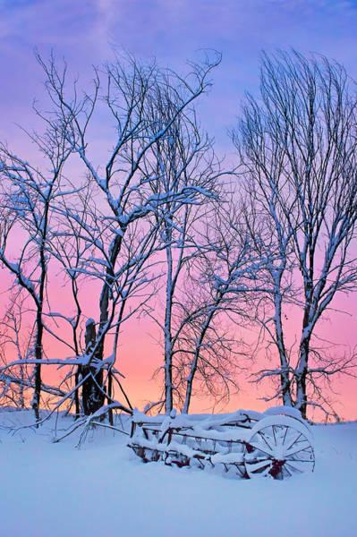 Hay Rake Photograph - Old Hayrake - Winter Sunset by Nikolyn McDonald
