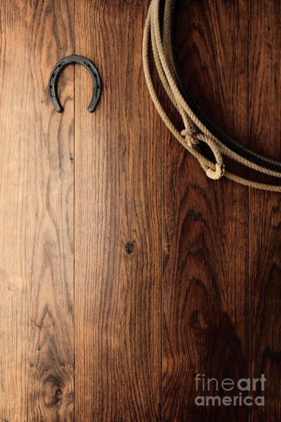 Rodeo Photograph - Old Horseshoe And Lariat by Olivier Le Queinec