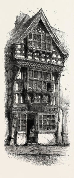 Old Style Drawing - Old House At Stratford,  Stratford Upon Avon by English School