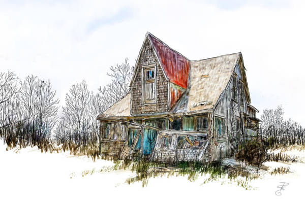 Broken Sky Digital Art - Old House by Debra Baldwin