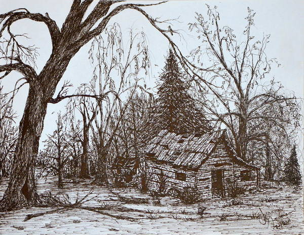 Homestead Drawing - Old House by Jeannie Anderson