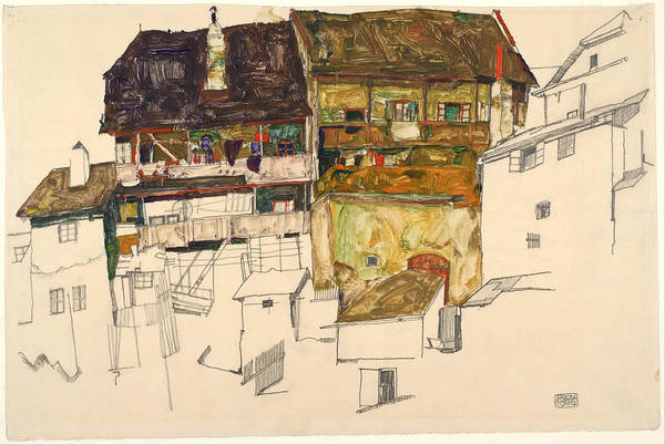 Francis Bacon Wall Art - Painting - Old Houses In Krumau by Egon Schiele