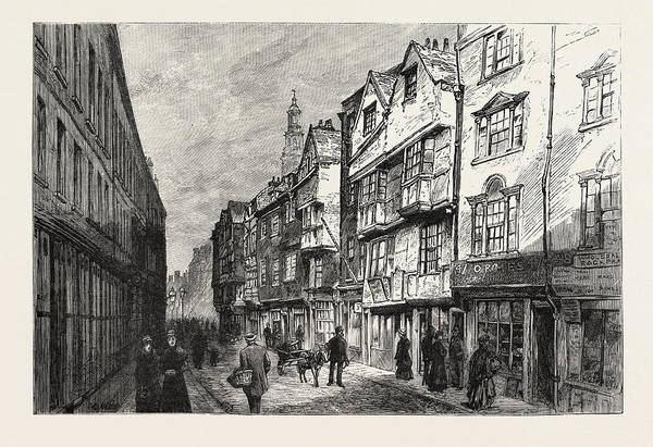 Old Style Drawing - Old Houses In Wych Street, London, Demolished, Engraving by English School