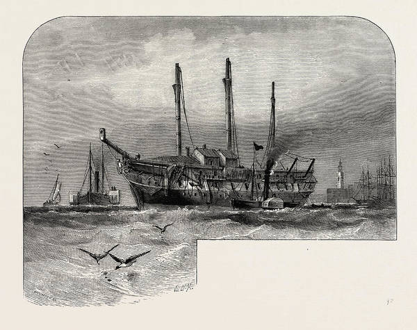 Old Style Drawing - Old Hulk In The Thames, Scenery Of The Thames by English School