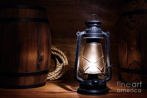 Oil Lamp Photograph - Old Kerosene Lantern by Olivier Le Queinec