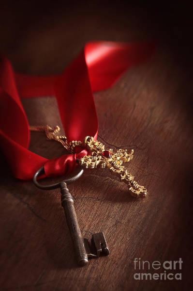 Photograph - Old Key And Gold Cross With Red Ribbon by Sandra Cunningham