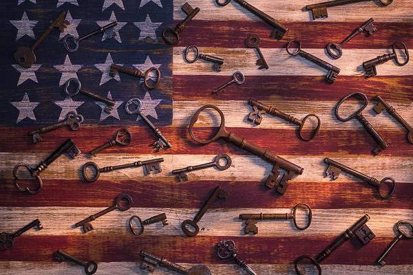 Skeleton Key Photograph - Old Keys On American Flag by Garry Gay