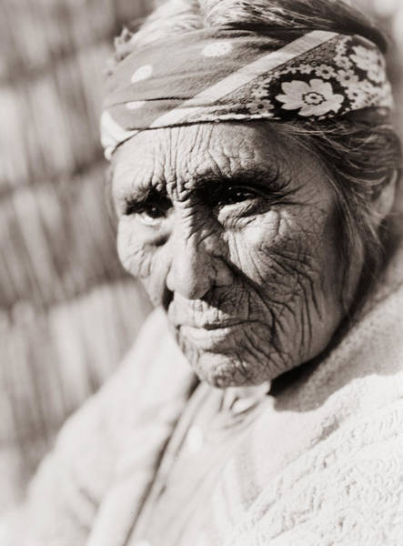Unhappy Photograph - Old Klamath Woman Circa 1923 by Aged Pixel