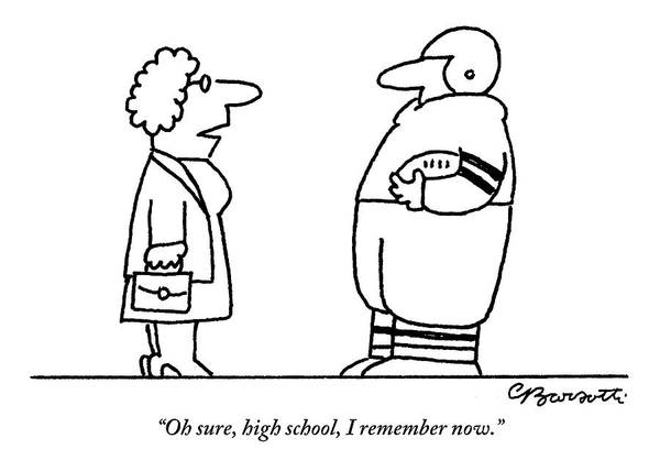 Reunion Drawing - Old Lady Talks To A Beefy Quarterback Holding by Charles Barsotti