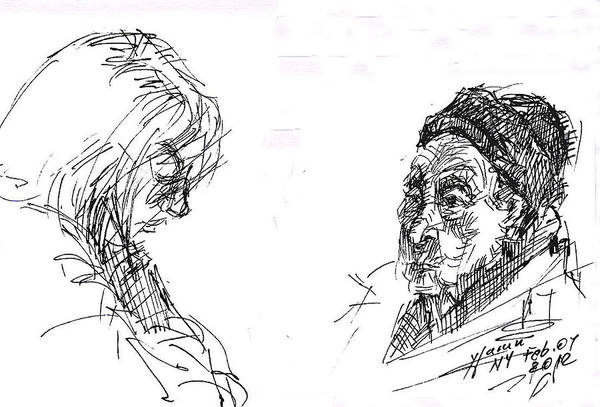 Lady Drawing - Old Lady With A Lady by Ylli Haruni