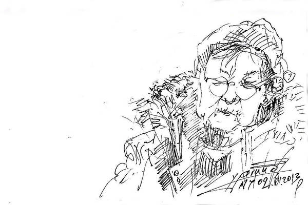 Old Drawing - Old Lady by Ylli Haruni