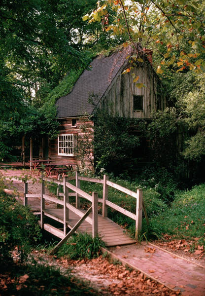 Wall Art - Photograph - Old Log Cabin Wooden Footbridge by Vintage Images