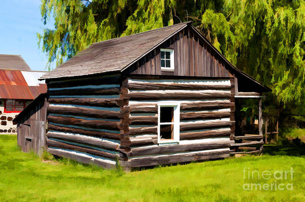 Photograph - Old Log Home - Painterly by Les Palenik