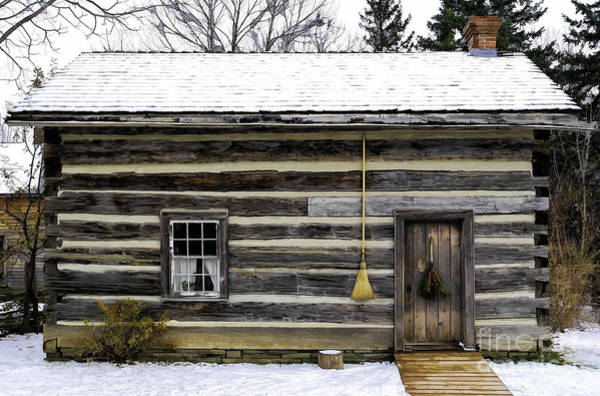 Photograph - Old Log Home With A Broom by Les Palenik