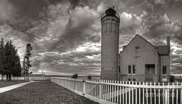 North Island Photograph - Old Mackinac Lighthouse In Black And White by Twenty Two North Photography