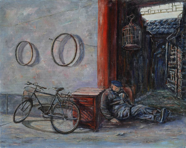 Painting - Old Man And His Bike by Xueling Zou