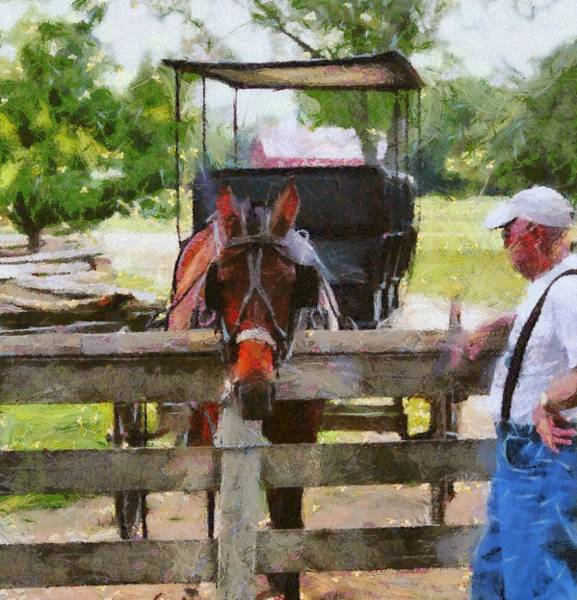 Fence Mixed Media - Old Man And His Horse by Dan Sproul