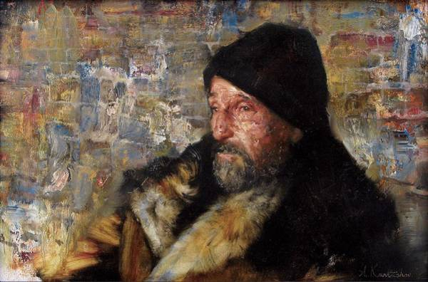 Russian Impressionism Wall Art - Painting - Old Man Near The Wall by Kartashov Andrey