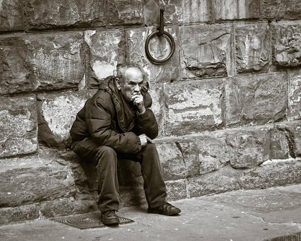 Homeless Photograph - Old Man Pondering by Susan Schmitz
