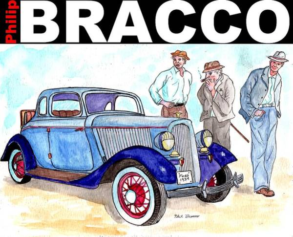 Mixed Media - Old Man Showing Off Sports Car by Philip Bracco