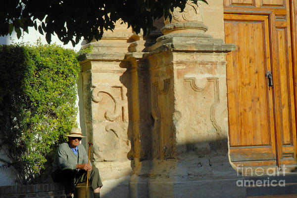 Photograph - Old Man Sitting By The Church by Brenda Kean