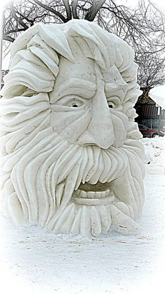 Ice Carving Photograph - Old Man Winter Snow Sculpture by Kay Novy