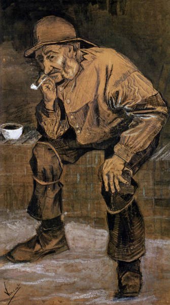 Deep Thought Wall Art - Drawing - Old Man With A Pipe, 1883 by Vincent van Gogh