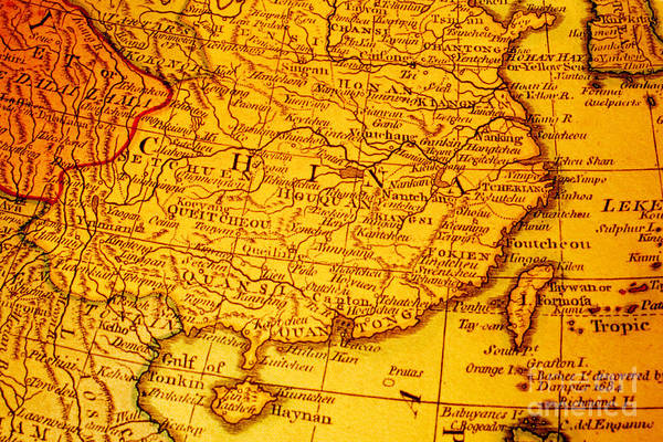 Asian Wall Art - Photograph - Old Map Of China And Taiwan by Colin and Linda McKie