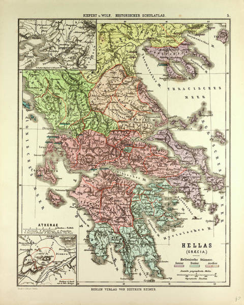 Old Style Drawing - Old Map Of Greece by Greek School